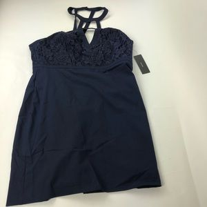 Lulus strapping mini dress cocktail dark blue xl